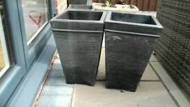 2 x tall grey strong plastic plant pots