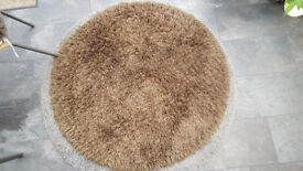1.2m Diam Brown Circular Rug with Rubber Backing & Thick Pile