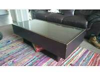 Glass Topped Coffee Table with Drawers
