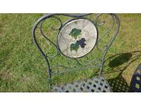Metal patio garden table with two chairs