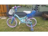 "Girls Bike Frozen 16 Inch Doll Carrier Stabilisers Blue 16"" Steel Frame Caliper"