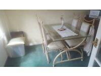 Glass dinning table and chairs with matching unit