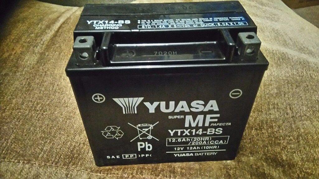 Motorcycle Battery. Yuasa YTX14-BS