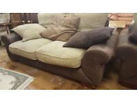 3 & 2 Brown Suede Leather Sofas