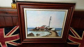 Dallas K Taylor original oil painting of Saint Marys lighthouse Whitley Bay