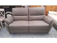 Ex Display ScS Neo Grey Leather 3 Seater Manual Recliner Sofa Can Deliver View Collect Kirkby NG177