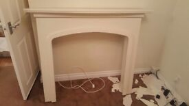 Wooden fire surround with lights