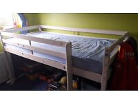 Single mid sleeper bed white wood