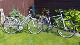 """His and hers Claud Butler bikes. Womens Odyssey Trekking 15"""" & Mens Classic 19"""" Excellent Condition"""