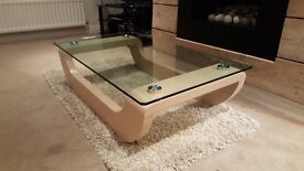 Glass and light oak coffee table contemporary