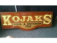 Snooker pool boarded sign