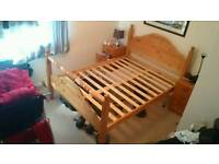 Double pine wood bed frame double
