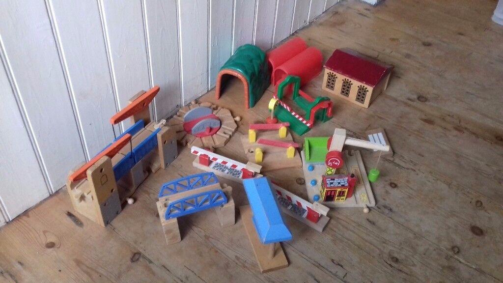 Large wooden train track bundle including road set