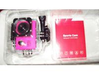 "Sports Cam (waterproof to 30m) Video Full HD 1080 pixels 2"" LCD Batt 1.5 Hrs New in Orig Pkg"