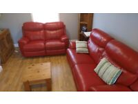 Harvey's 3 piece sofa suite red leather