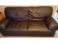 Faux leather brown sofa, cracked material on şeat cushions