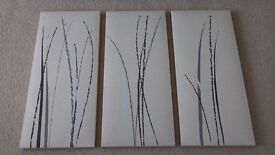 3 piece canvas set. Each is 10.5 inch by 23.5 inch. Like new!