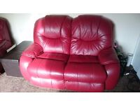 2 seat red leather sofa 2x arm chairs of which 1 is power reclining