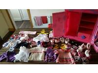 Build a Bear fashion case and assorted clothing