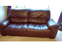 FOR SALE 1 x Chocolate Brown Leather Large 3 Seater Sofa £150. L 212cm H 90cm D 100cm