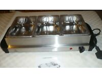 Elegance stainless steel 3 tray buffet server &warming tray