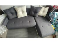Very Good Condition Dark Grey L-Shape Corner Sofa Bed with Storage