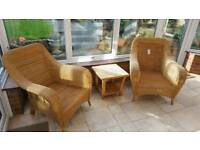 Rattan Armchairs and table