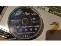 MediaRange Mini 8cm DVD-R 1.4gb (GByte/Giga Byte) 4x Write Speed 10 in tube