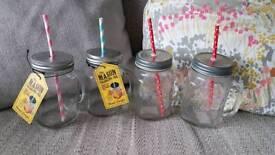4 Mason jar glasses