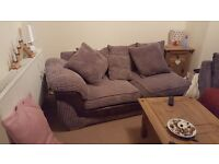 Comfy L-shaped grey sofa