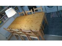 Ikea Pine Extendable Dining Table With 6 Chairs - Excelent condition