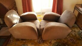 1930's Art Deco English Armchairs