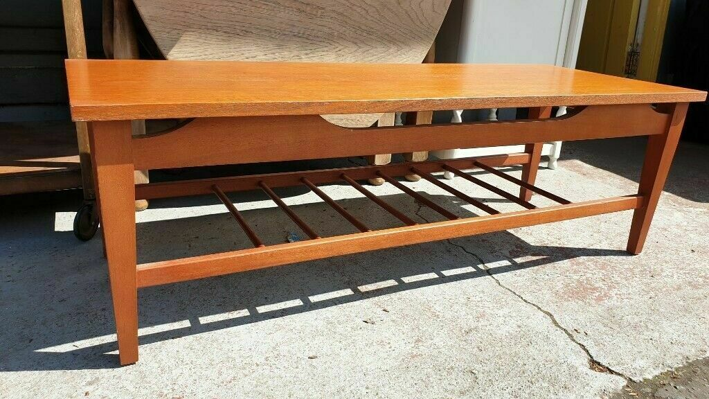 Teak Mid Century Coffee Table With Magazine Rack | in ...