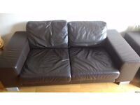 Brown Faux Leather 3 Piece Sofa - Collection Only