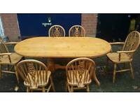 Solid pine farmhouse dining table and ercol wheelback chairs ( SOLD )