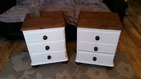 Shabby chic pair of solid pine bedside tables