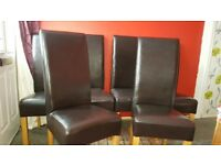 6 black leather dinning chairs in excellent condition