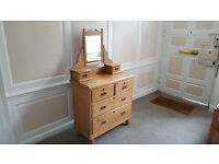 Lovely original antique pine chest of drawers with mirror and jewellery drawers on top.