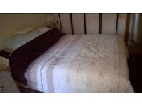 """Double divan bed & mattress 4'6"""" - always used 5 inch mattress topper-immaculate"""