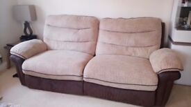 DFS Beige/Brown Electric Reclining 3 Seater fabric Sofa and Armchair