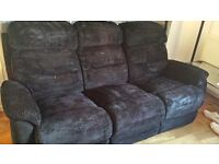 3 seater and 2 seater black fabric sofa