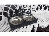cast iron dog bowl holder good and heavy