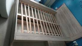 Double bed frame with two drawers