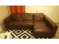 Corner Leather Sofa - Dark Brown - £50