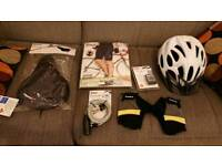 BICYCLE ACCESSORIES - COMPUTER, GLOVES, LOCK, HELMET, GELL SADDLE, SHORTS