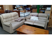 2 x 2 cream leather recliner sofas