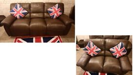 Brown leather 3 seater and 2 seater manual reclining sofas nice and comfortable