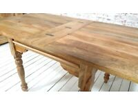 Dining Kitchen Extending Rustic Farmhouse Turned Leg Table Solid Hardwood - Space Saving Design