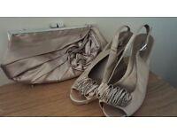 Beautiful pair of kitten heel designer satin shoes and matching bag Size 6 worn once