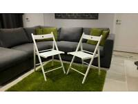 Pair of Ikea white wooden folding picnic ocasional dining bistro chairs